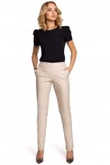 Beżowe Eleganckie Spodnie Rurki z Eko-skóry