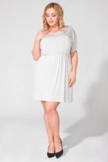 Jasnoszara Codzienna Dresowa Sukienka Letnia Plus Size