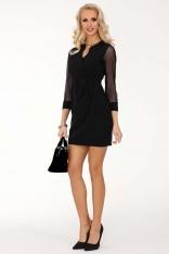Czarna Dopasowana Sukienka z Transparentnym Rękawem