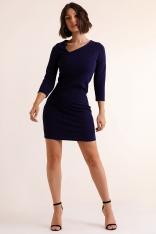 Ołówkowa Mini Sukienka z Asymetrycznym Dekoltem - Granatowa