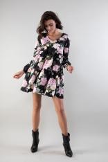 Sukienka z Falbankami z Dekoltem w Szpic - Róże