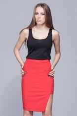 Czerwona Oryginalna Asymetryczna Spódnica Ołówkowa