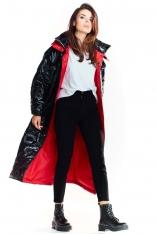 Czarny Długi Płaszcz z Kapturem z Wzorzystej Tkaniny z Połyskiem