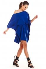 Niebieska Kimonowa Sukienka z Paskiem