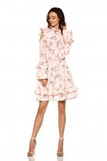 Różowa Wzorzysta Sukienka w Kwiaty z Falbankami Typu Cold Shoulder