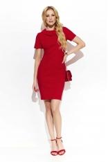 Czerwona Klasyczna Dopasowana  Sukienka z Kołnierzykiem