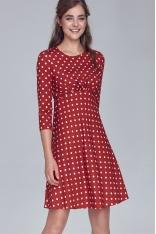 Bordowa Rozkloszowana Sukienka w Grochy Odcinana pod Biustem