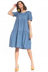 Zwiewna Midi Sukienka - Niebieska