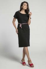 Czarna Prosta Sukienka Midi Przewiązana Kolorowym Sznurkiem