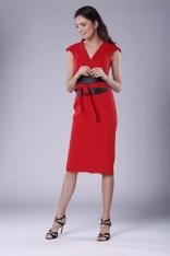 Czerwona Elegancka Ołówkowa Sukienka Midi z Zaznaczoną Talią