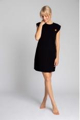 Sukienka z Bawełny Prążkowanej bez Rękawów - Czarna