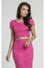 Różowa Elegancka Krótka Koronkowa Bluzka