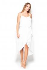 Ecru Sukienka Midi z Zakładanym Dołem na Ramiączkach