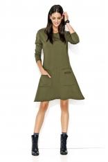 Khaki Nowoczesna Trapezowa Sukienka z Kieszeniami