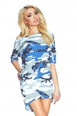 Biało Niebieska Sukienka z Dłuższym Tyłem - Moro