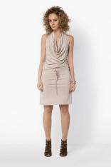 Beżowa Midi Sukienka z Dekoltem Typu Woda
