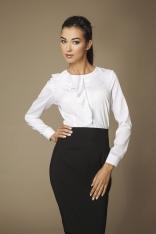 Biała Elegancka Koszula z Falbanką