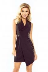 Czarna Sukienka z Asymetrycznym Kopertowym Dołem