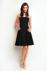 Czarna Gorsetowa Rozkloszowana Sukienka przed Kolano