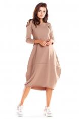 Beżowa Dzianinowa Sukienka Bombka z Długim Rękawem