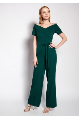 Elegancki Kombinezon z Dekoltem Typu Carmen - Zielony