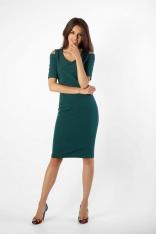 Zielona Klasyczna Ołówkowa Sukienka Open Shoulder