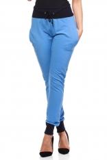 Niebieskie Dresowe Spodnie z Kontrastowymi Ściągaczami