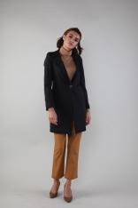 Czarny Elegancki Płaszcz na Jeden Guzik