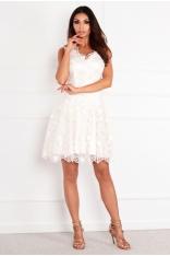 Ecru Rozkloszowana Sukienka z Kwiatami 3D