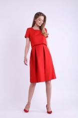 Czerwona Wizytowa Rozkloszowana Sukienka z Nakładką