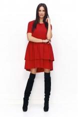 Czerwona Sukienka Casual z Falbankami