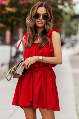 Zwiewna Sukienka na Wiązanych Ramiączkach - Czerwona