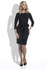 Czarna Sukienka Klasyczna Taliowana z Paskiem