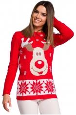 Czerwony Świąteczny Sweter z Reniferem