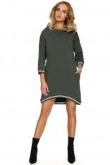 Zielona Dzianinowa Asymetryczna Sukienko-Bluza z Kapturem