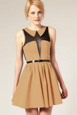 Beżowa Modna Sukienka w Stylu Boho