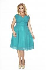 Zielona Sukienka z Kopertowym Dekoltem PLUS SIZE