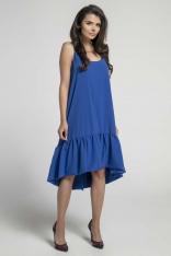 Granatowa Zwiewna Sukienka z Asymetryczną Falbanką na Cienkich Ramiączkach
