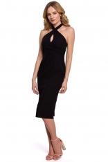 Czarna Ołówkowa Sukienka z Wiązaniem na Karku