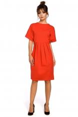 Czerwona Sukienka Dresowa z Zakładkami