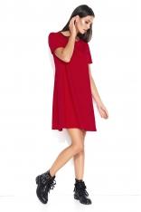 Czerwona Trapezowa Sukienka Dzianinowa z Krótkim Rękawem