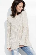 Beżowy Cieplutki Luźny Sweter z Angielskim Ściegiem