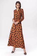 Brązowa Wzorzysta Długa Sukienka Koktajlowa