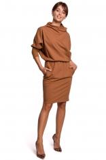 Kimonowa Sukienka z Ołówkowym Dołem - Karmelowa