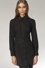 Czarna Długa Koszula z Zakładkami