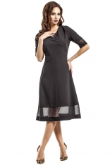 Czarna Wizytowa Sukienka Midi z Szyfonowymi Wstawkami