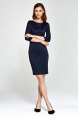 Granatowa Sukienka Ołówkowa z Asymetrycznym Drapowaniem