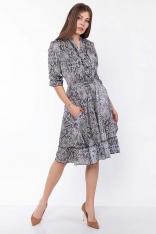 Zwiewna Sukienka Koszulowa w Wężowy Wzór z Falbankami