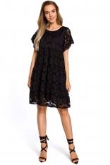 Czarna Zwiewna Sukienka Koronkowa z Mini Rękawkiem