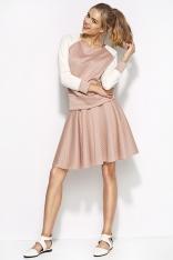 Różowa Pikowana Mini Spódnica z Koła